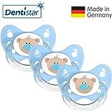 Dentistar® Silikon Schnuller 3er Set - Beruhigungssauger, Nuckel Größe 1 von Geburt an, 0-6 Monate - zahnfreundlich & kiefergerecht   Edition 1