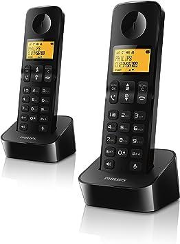 Philips D2102 - Teléfono dúo con manos libres, negro: Amazon.es: Electrónica