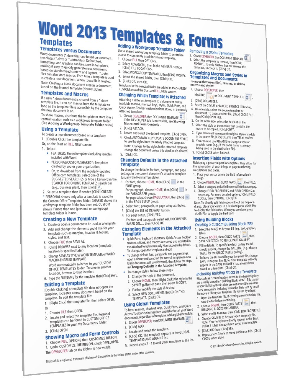 Microsoft Word 21 Templates & Forms Quick Reference Guide (Cheat For Cheat Sheet Template Word