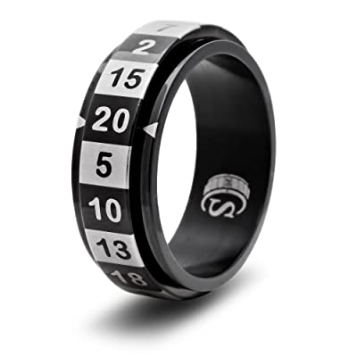 CritSuccess d20 Dice Ring with 20 Sided Die Spinner (Size 15.5 - Stainless Steel - Black): Toys & Games