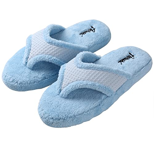 9080ccd5730077 Aerusi Women s Blue Microfiber Relaxation House Slippers Size 6