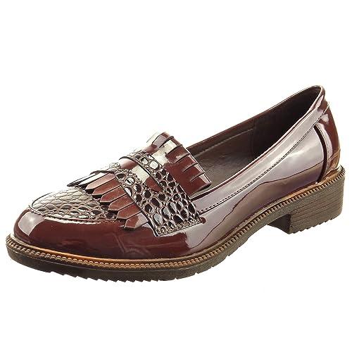 Sopily - Zapatillas de Moda Mocasines Tobillo mujer piel de serpiente fleco patentes Talón Tacón ancho 3 CM - Marrón CAT-4-YT318 T 41: Amazon.es: Zapatos y ...