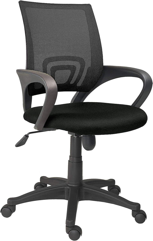Adec - Logic, Silla de Oficina, Silla de Escritorio, Silla despacho, Color Negro Medidas: 60 cm (Ancho) x 60 cm (Fondo) x 90-112 cm (Alto)