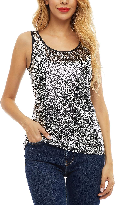 Women's Sleeveless Shimmer Camisole Glitter Vest Sequin Tank Tops
