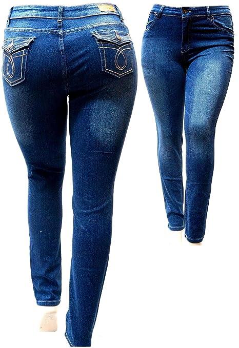 Amazon.com: La Chula azul oscuro elástico jeans de mujer de ...
