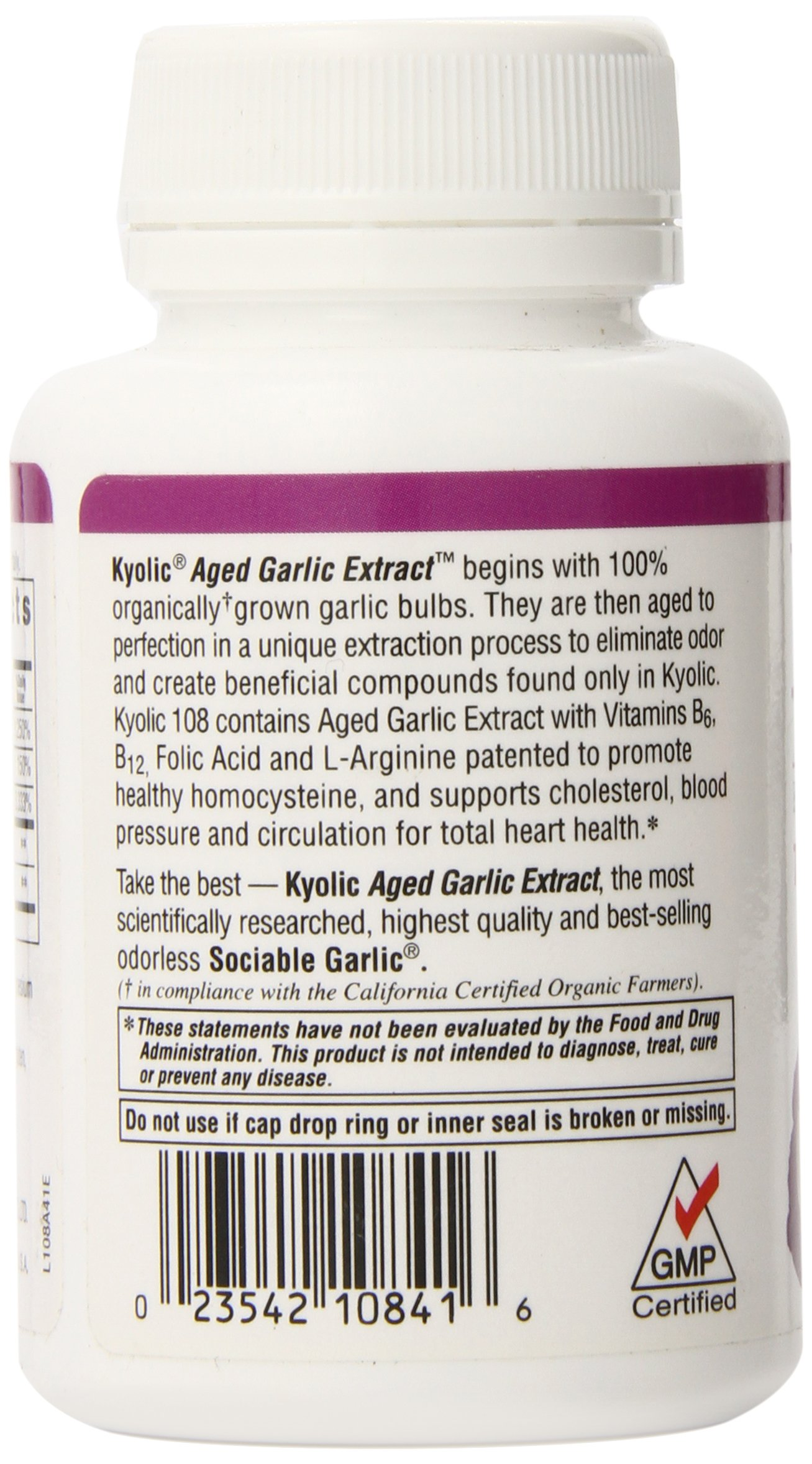 Kyolic Aged Garlic Extract Formula 108 Total Heart Health (100 Capsules) Heart Healthy Odorless Organic Garlic Supplement, Soy- Gluten-Free, Gentle on the Gut Garlic Pills