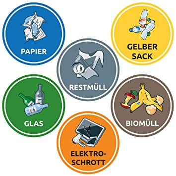 Schilderio 6 Stück Aufkleber Set Mülltrennung Für Abfalltonnen Mülleimer Mülltrennsysteme