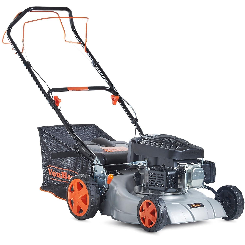"VonHaus Petrol Lawnmower 16"" Self-Propelled Drive With 5 Cutting Heights In Distinctive Grey, Orange & Black"