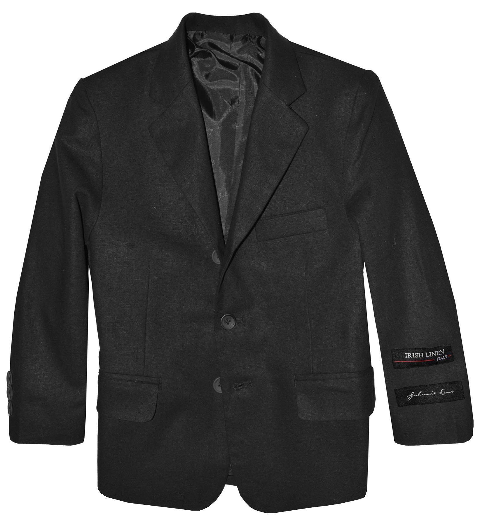 Boys' Cotton/Linen Blazer Jacket (7, Black)