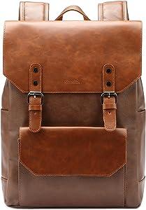Zebella Vintage Vegan Leather Backpack,Brown Laptop Backpack For Women Men Travel College School Bookbag Daypack