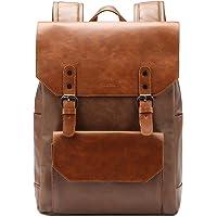 Zebella Faux Leather Backpack Vintage Leather Bookbag Vegan Travel Daypack College Bag for Women and Men