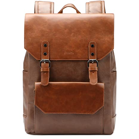 c11af48c3298 Amazon.com  ZEBELLA Faux Leather Backpack Purse Bookbag Laptop Bag Casual  Daypack for Women and Men-Brown  Toys   Games