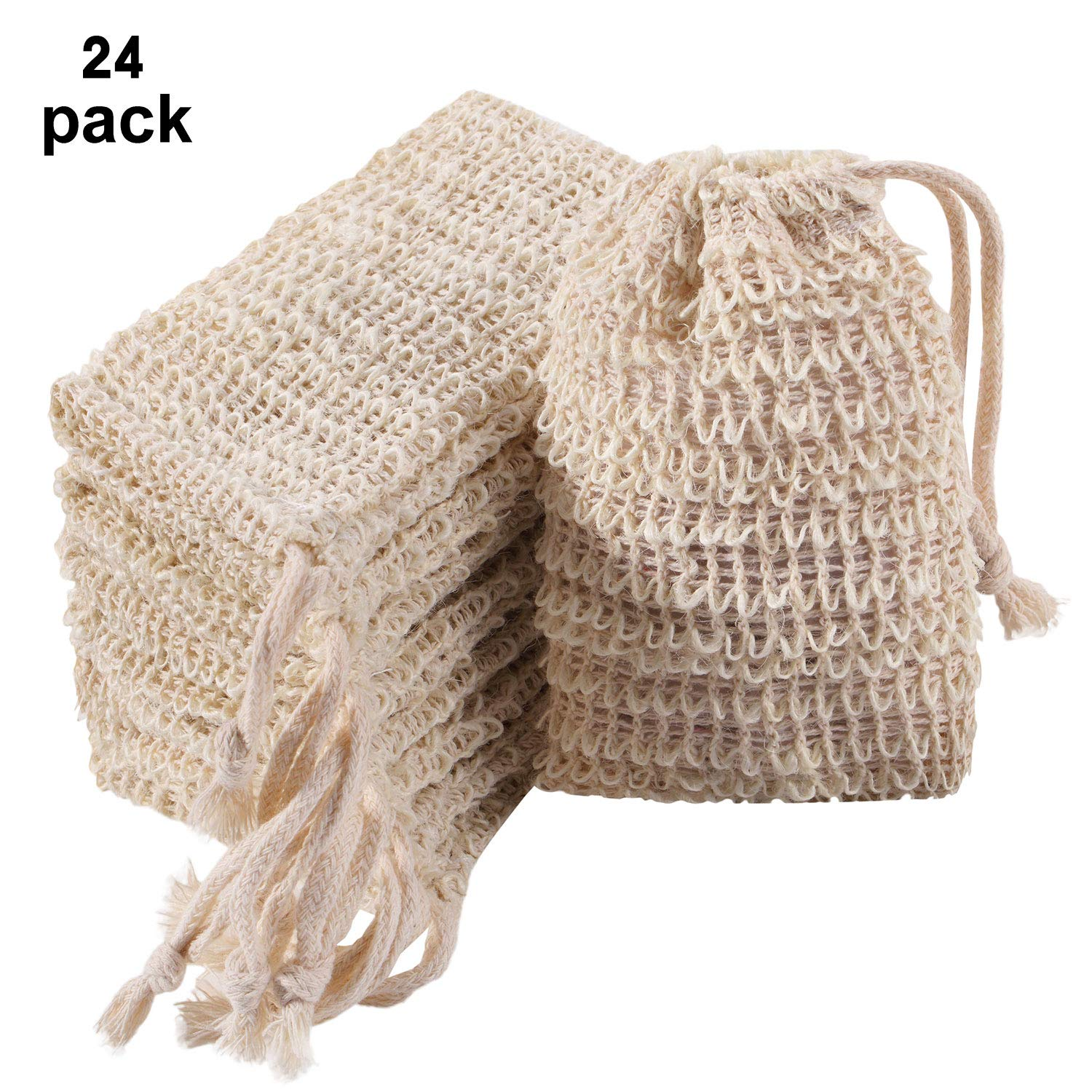 Trounistro 24 Pack Soap Exfoliating Bag Pouch Soap Saver Natural Ramie Soap Bag Hand Made Soap Bag Mesh Soap with Drawstring for Bath & Shower Use