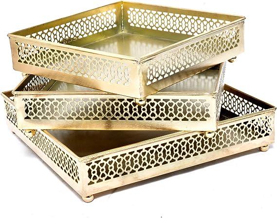 Jaipur - Juego de 3 bandejas de Cobre cuadradas para Mesa de café o de Desayuno, Soporte para Documentos de Oficina: Amazon.es: Hogar