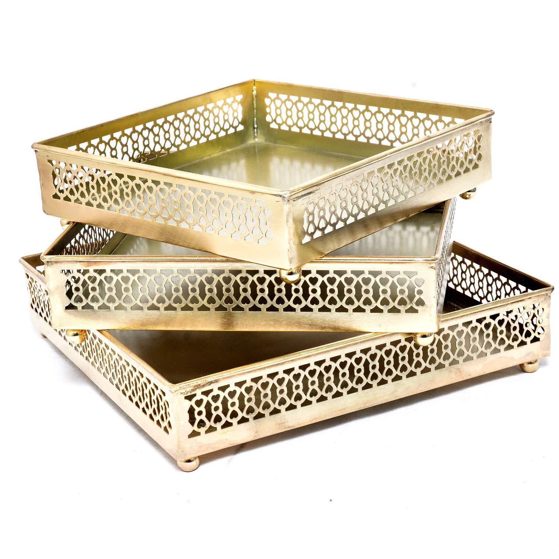 Jaipur - Juego de 3 bandejas de Cobre cuadradas para Mesa de café ...