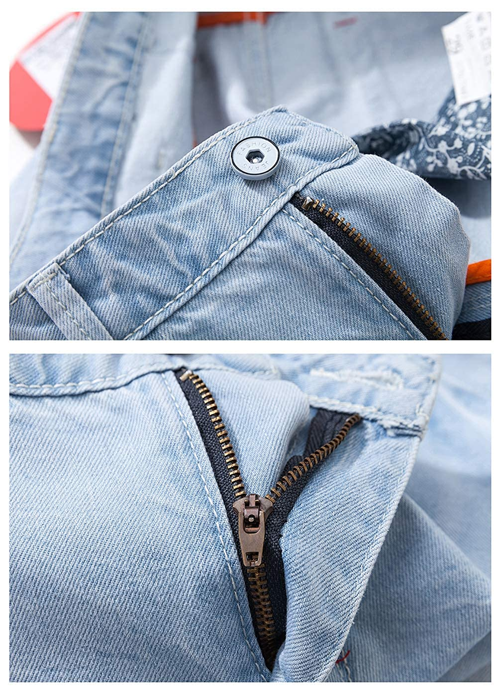 Heart Yuxuan Mens Denim Shorts Fashion Casual Slim Fit Jeans Short
