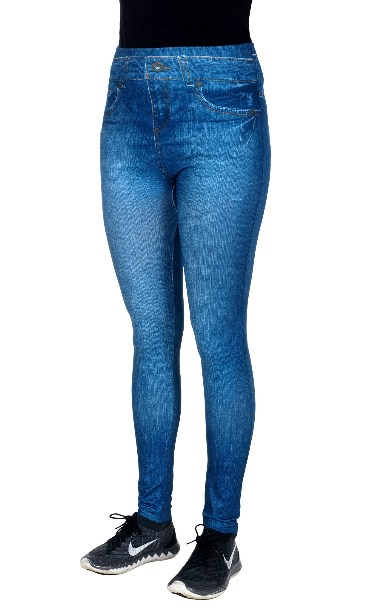 Crush Women's Blue Jean Denim Look Jeggings with Rhinestone Accents by (1X/2X, Blue)