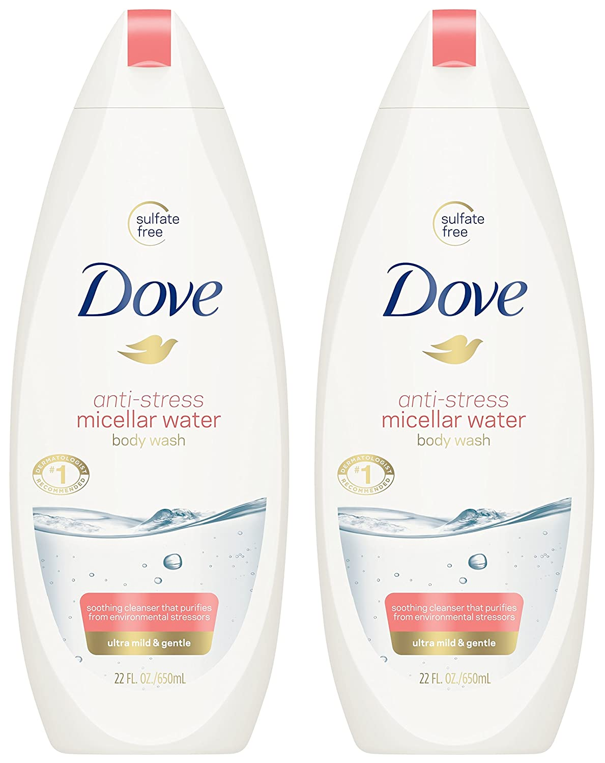 Dove Body Wash - Anti-Stress Micellar Water - Ultra Mild & Gentle - Sulfate Free - Net Wt. 22 FL OZ (650 mL) Per Bottle - Pack of 2 Bottles