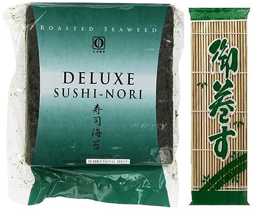 """Nagai Deluxe Sushi Nori Full Sheet 50 Count + Wel Pac Sushimaki SU BAMBOO MAT 9.5""""X9.5"""""""