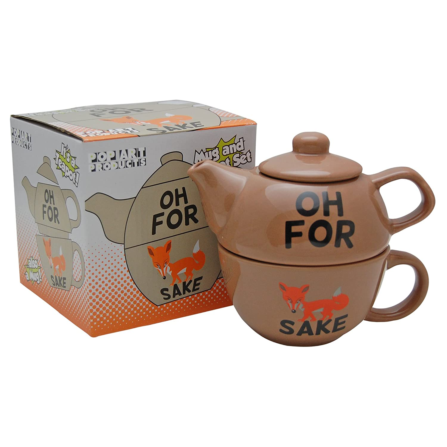 FOR FOX SAKE TEAPOT FOR ONE - Novelty Tea Pot and Cup Set - Funny Saying Profanity Visual Pun BROWN Pop Art Products