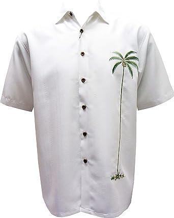 Bambú Cay – Palm Isla Tropical Estilo Bordado botón Frontal Camisa de Blanco - Blanco -: Amazon.es: Ropa y accesorios
