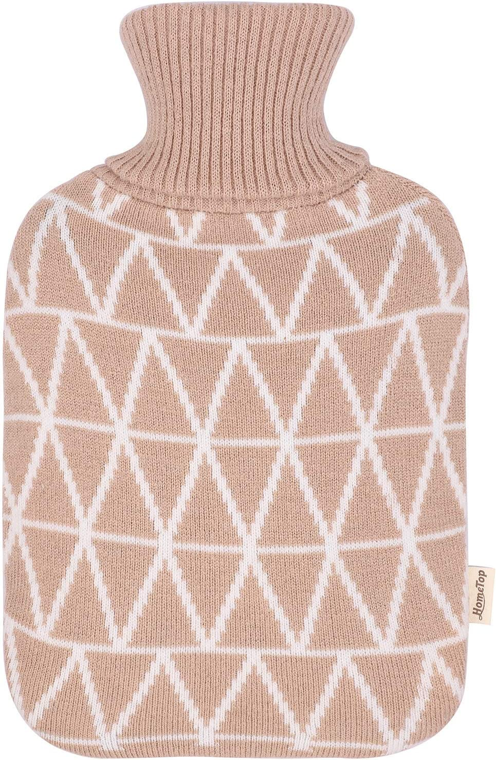 2 Liter Beige Classic Rubber Hot Water Bottle with Classic Yarn Knit Diamond Check Cover by HomeTop