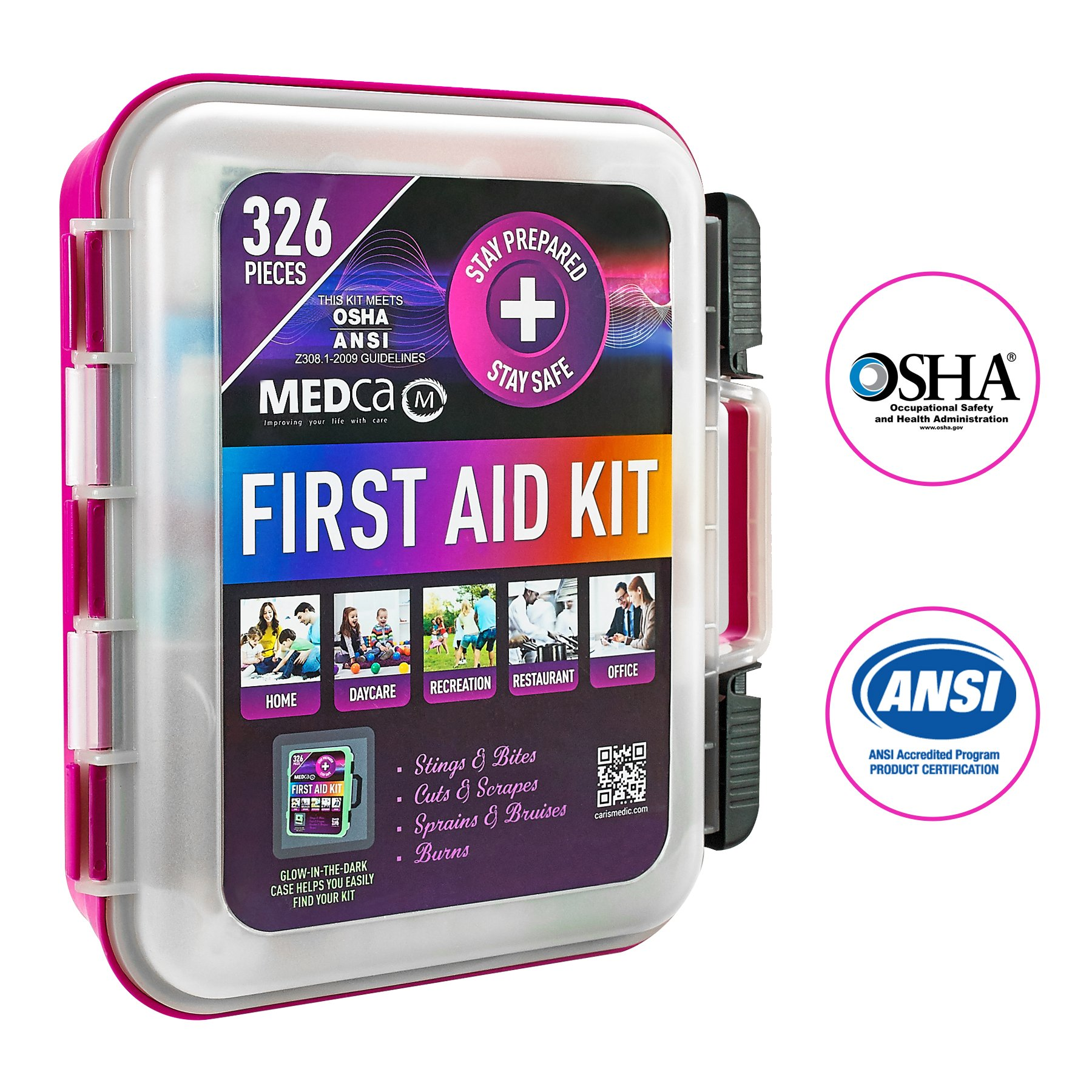First Aid Kit - Emergency First Aid Kit and Medical Kit Exceeds ANSI Z308.1-2009 OSHA Standards, Hard Case, Wall Mount & Glows in The Dark for Offices, Home, Schools, Daycare, Construction Sites by MEDca
