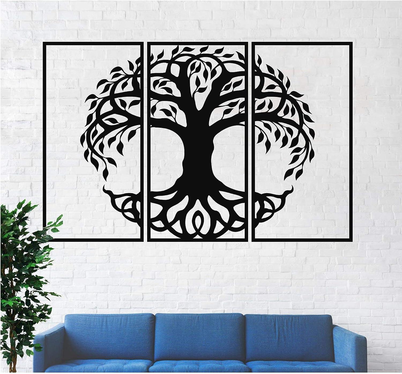 Diuangfoong Tree of Life 3 Panels, Metal Tree Wall Art, Tree Sign, Metal Wall Decor, 3 Pieces Wall Hangings, Metal Wall Art, Home Decoration 20