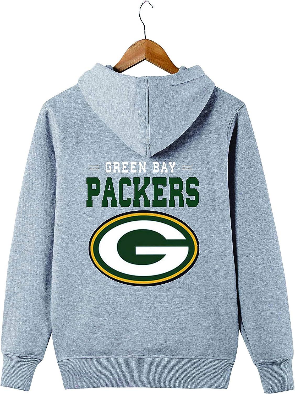 JJCat Mens Long Sleeve Hooded Letters Print Packers Football Team Solid Color Zipper Hoodies