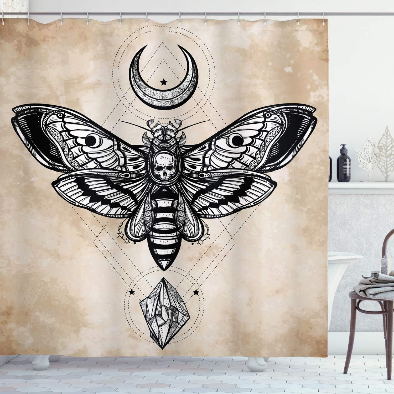 Ambesonne Fantasy Shower Curtain, Dead Head Hawk Moth with Luna and Stone Magic Skull Illustration, Cloth Fabric Bathroom Decor Set with Hooks, 84