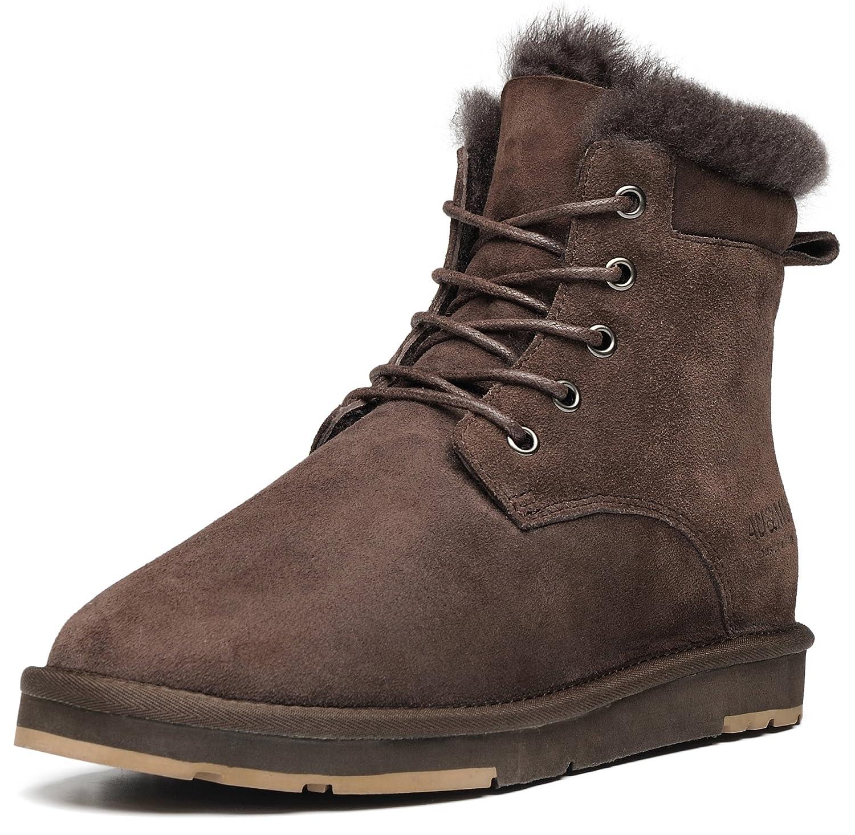 AU&MU Women's Full Fur Sheepskin Suede Winter Snow Boots B073F5ZXNP WOMEN 12 B(M)US/MEN 11 D(M)US Chocolate