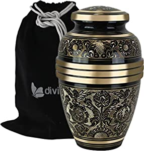 Large Golden Aura Cremation Urn - Beautifully Handcrafted Adult Funeral Urn - Solid Brass Living Garden Urn - Affordable Urn for Human Ashes with Free Velvet Bag