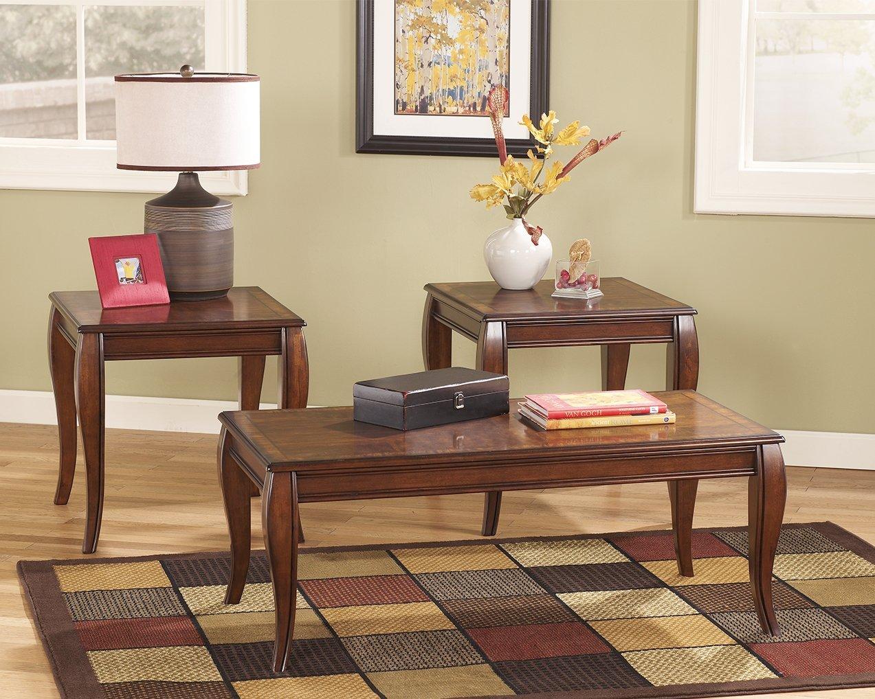 Amazon.com: Ashley Furniture Signature Design   Mattie Occasional Table    Set Of 3   Reddish Brown: Kitchen U0026 Dining