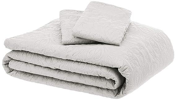 AmazonBasics Oversized Quilt Coverlet Bed Set - King, Cream Floral