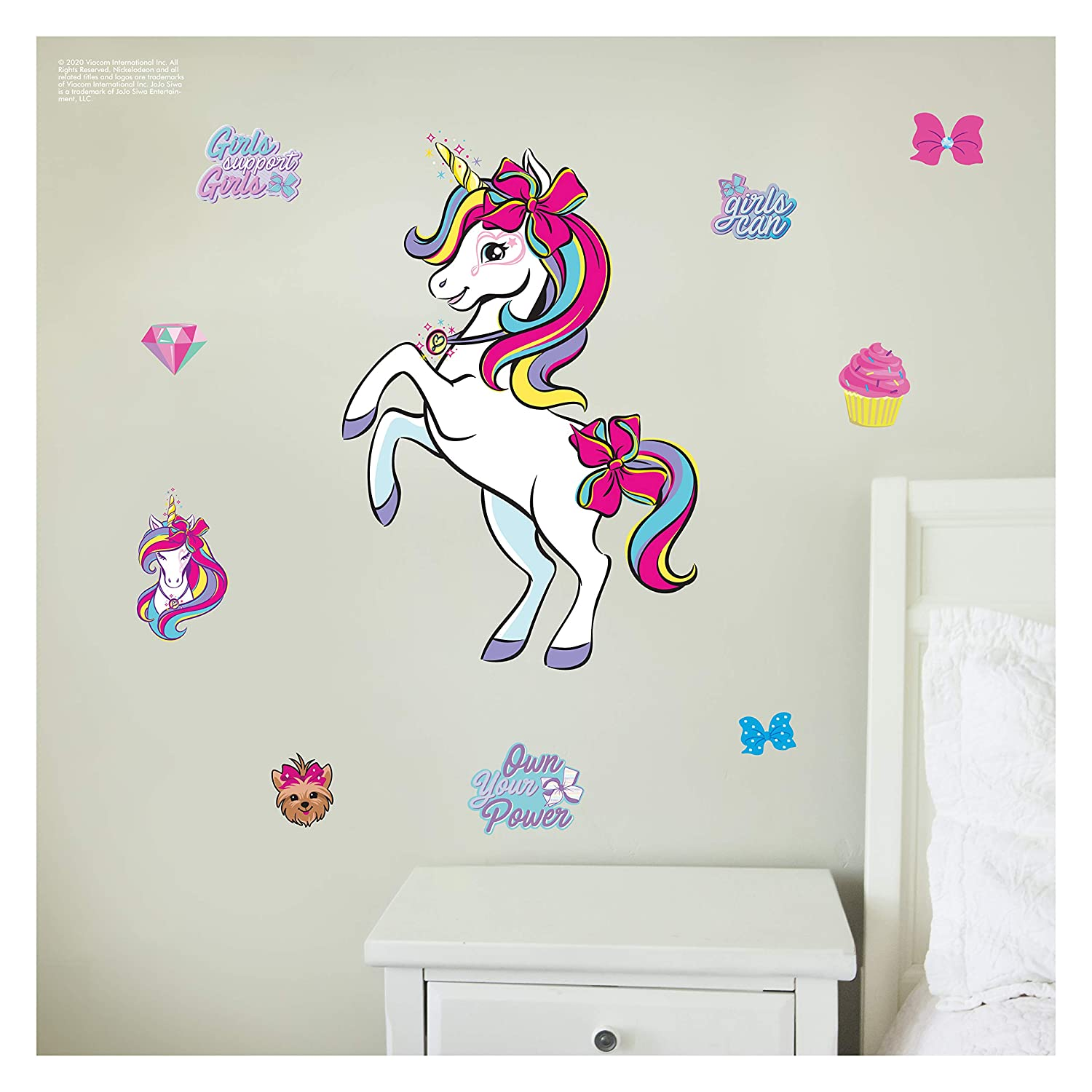 JoJo Siwa Unicorn Wall Decal - Unicorn Wall Decor with 3D Augmented Reality Interaction - Unicorn Room Decor