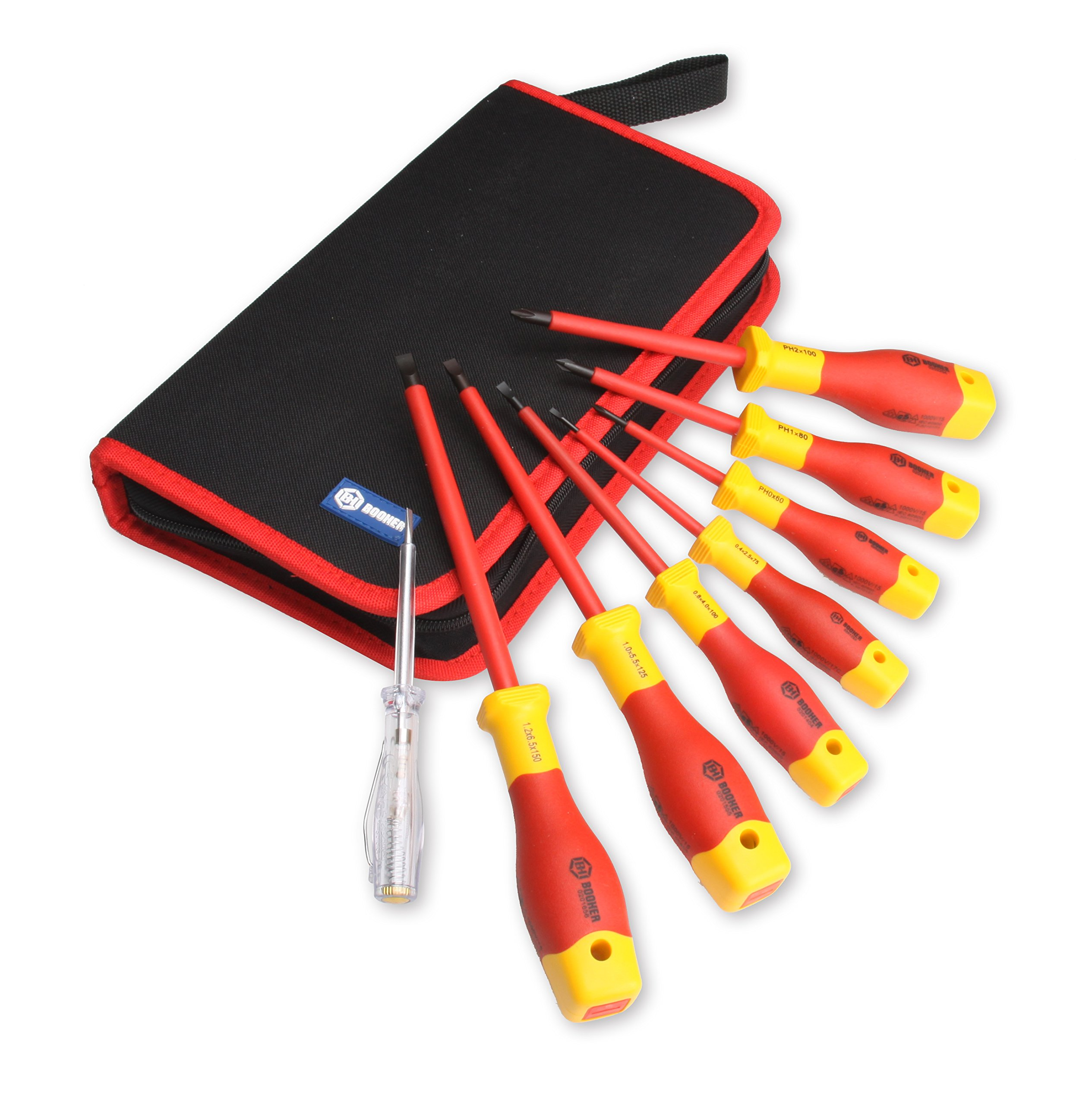 BOOHER 0200204 8-Piece 1000V Insulated Screwdriver Set by BOOHER