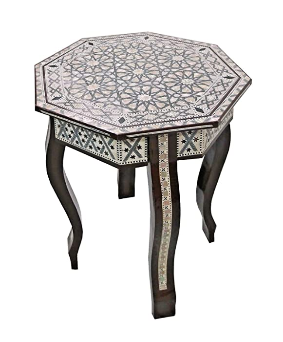 W155 BR Mother of Pearl Moroccan Corner Wood Octagonal Table Brown End Coffee