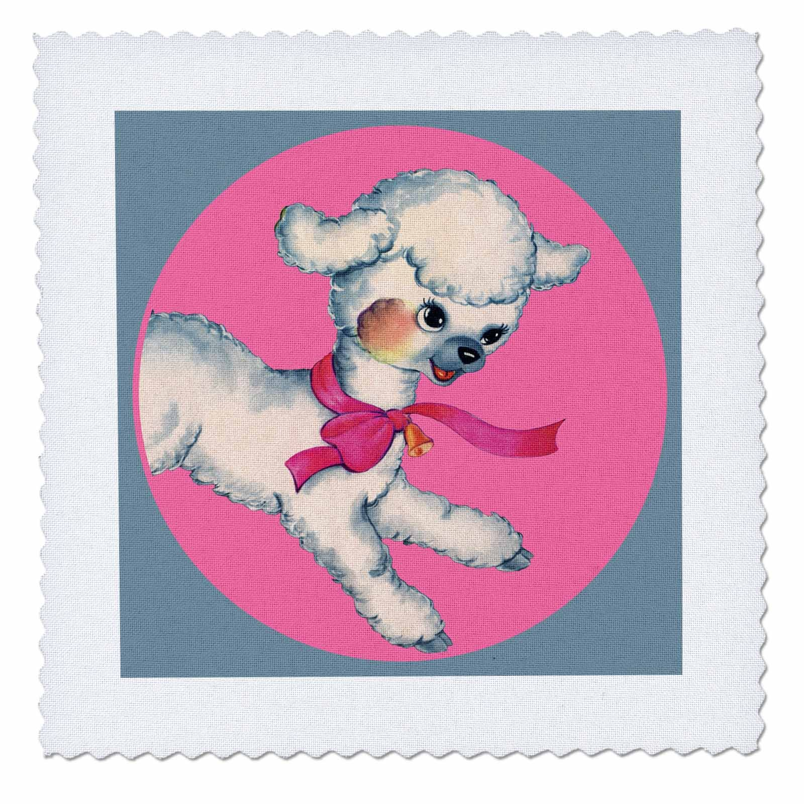3dRose TNMPastPerfect Animals Farm - Cute Little Lamb in Pink Circle - 16x16 inch quilt square (qs_280653_6)