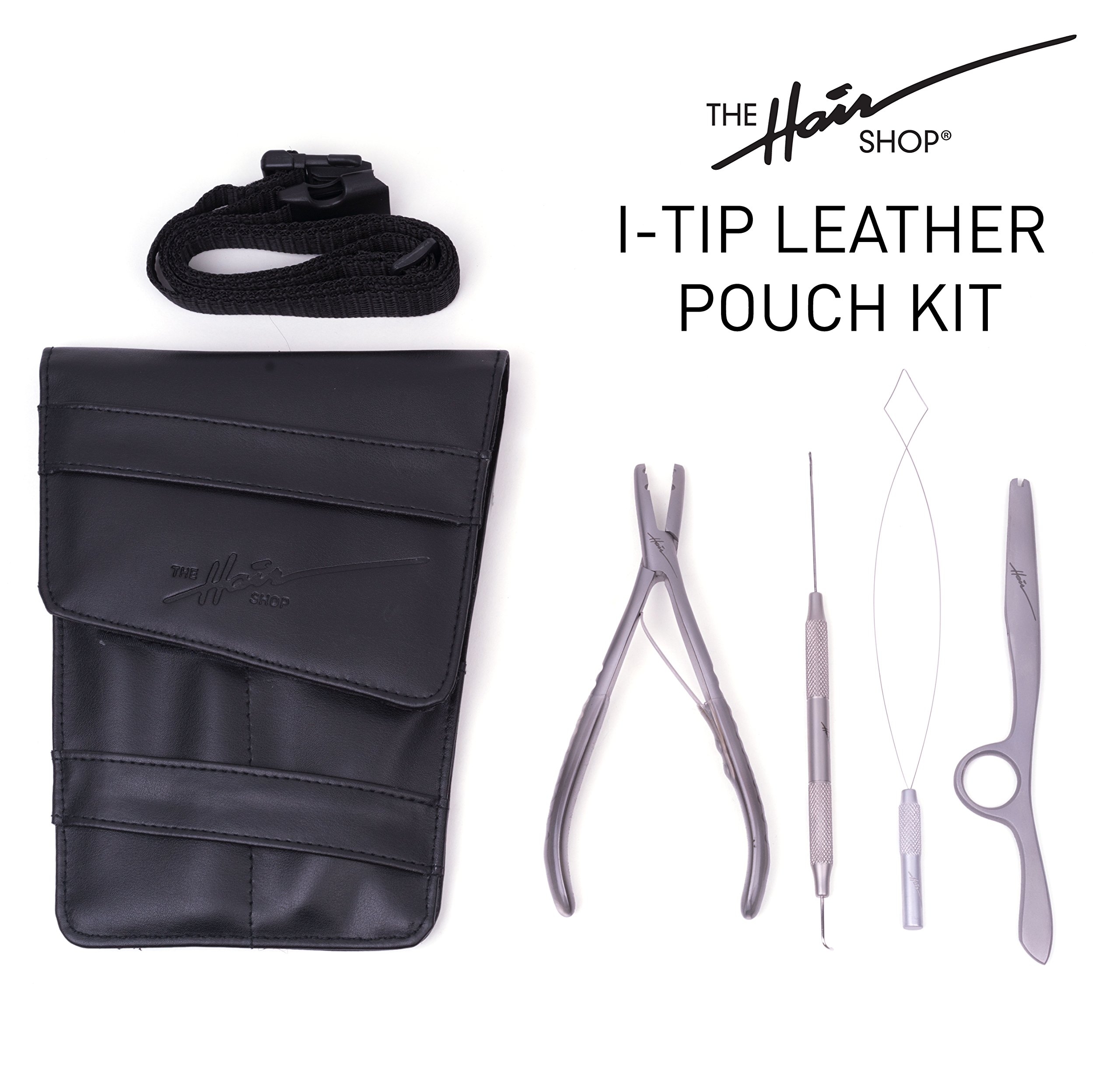 I-Tip Leather Pouch Starter Kit by The Hair Shop - Dual-Function Threading Tool, Loop Threading Tool, Multifunction Plier, Blending Razor, and Leather Pouch w/Belt for Professional Hair Extensions