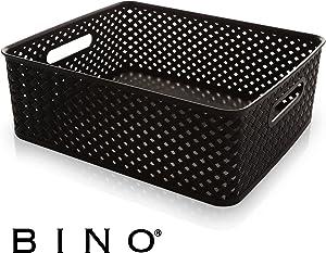 BINO Woven Plastic Storage Basket, Large (Black)