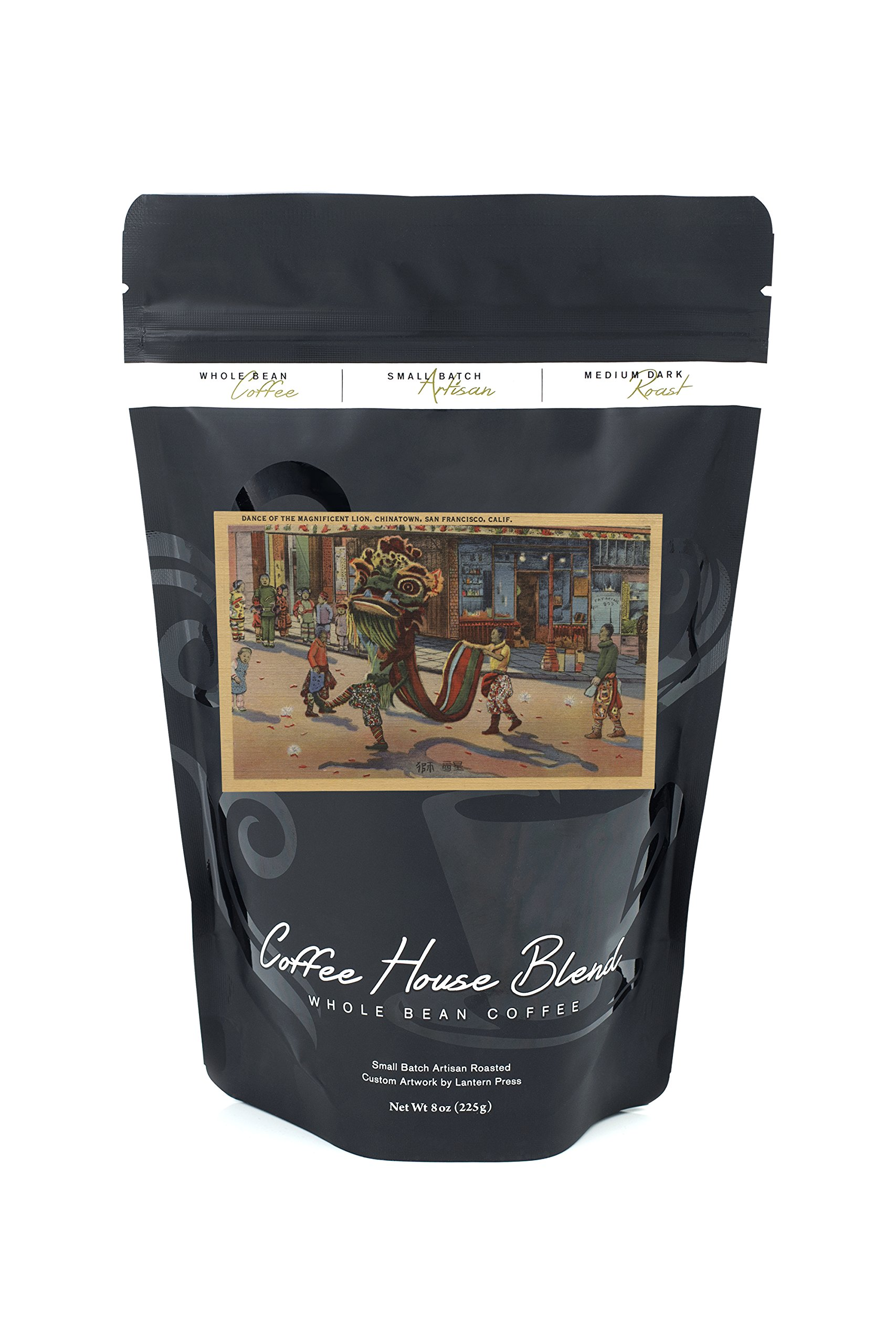 San Francisco, CA - Dance of the Magnificent Lion, Chinatown (8oz Whole Bean Small Batch Artisan Coffee - Bold & Strong Medium Dark Roast w/Artwork)