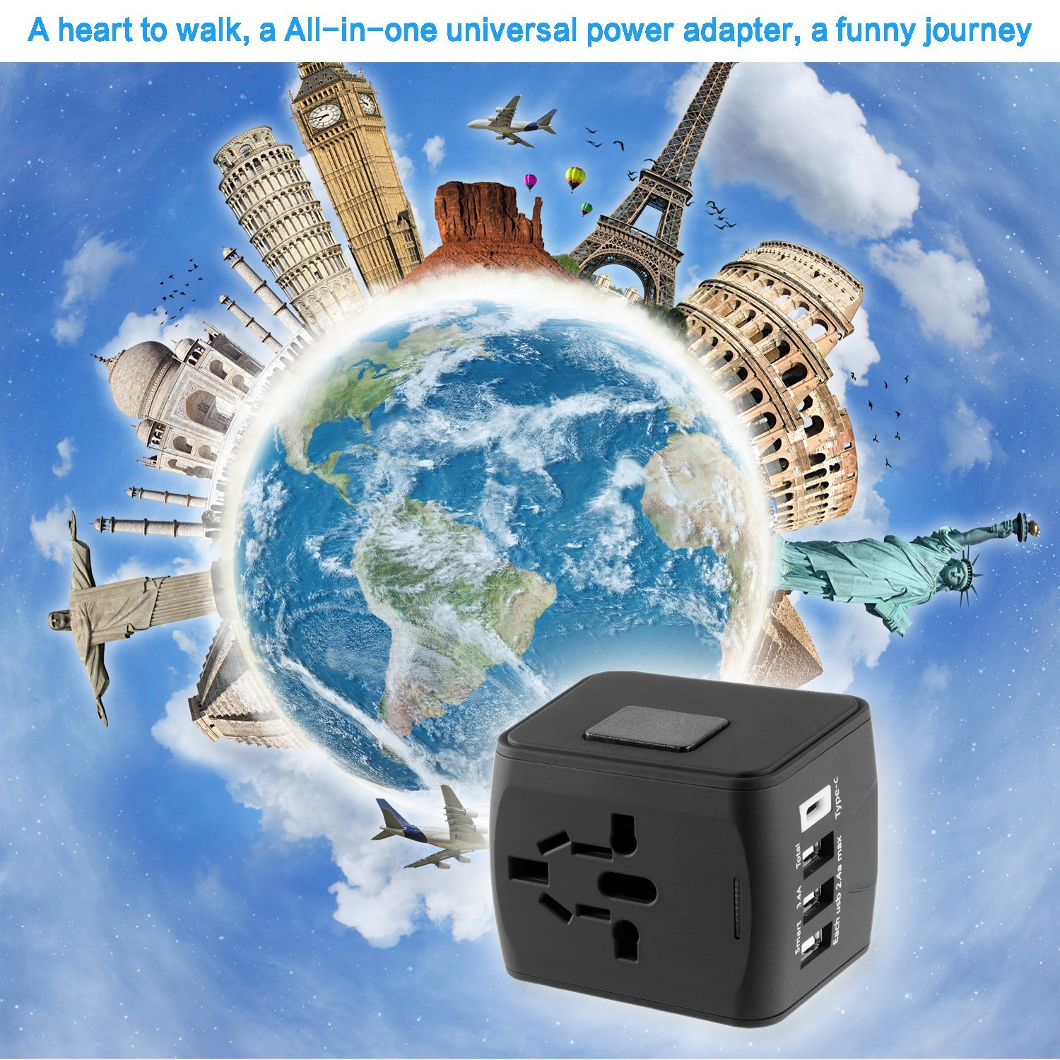 Travel Adapter, LezGo All-in-one Universal Power Adapter with 3.4A 3 USB Type C, European Plug Adapter International Plug adapter Wall Charger with UK, EU, AU, US for 200 countries