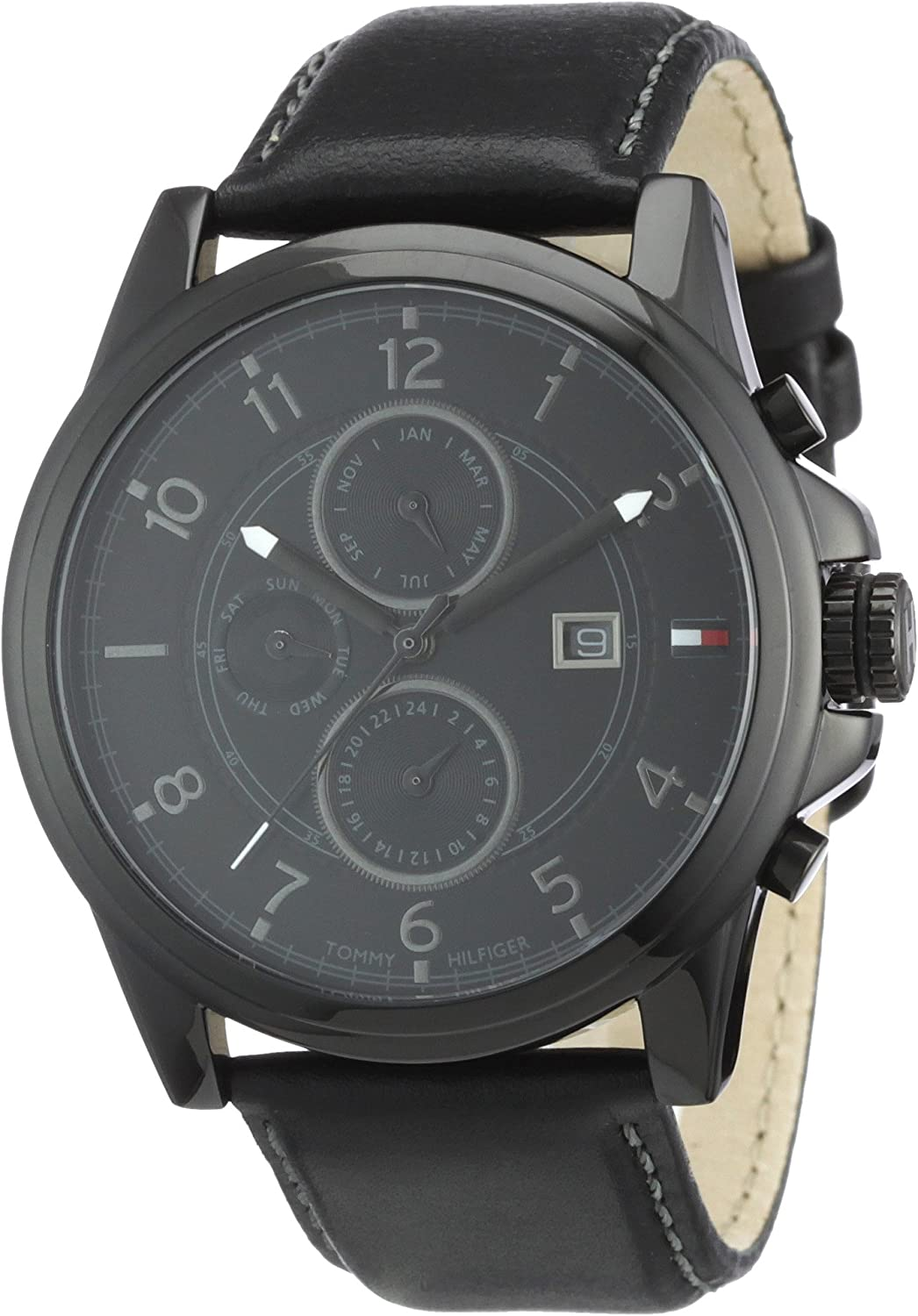 Tommy Hilfiger Black Dial Black Leather Chronograph Mens Watch 1710295