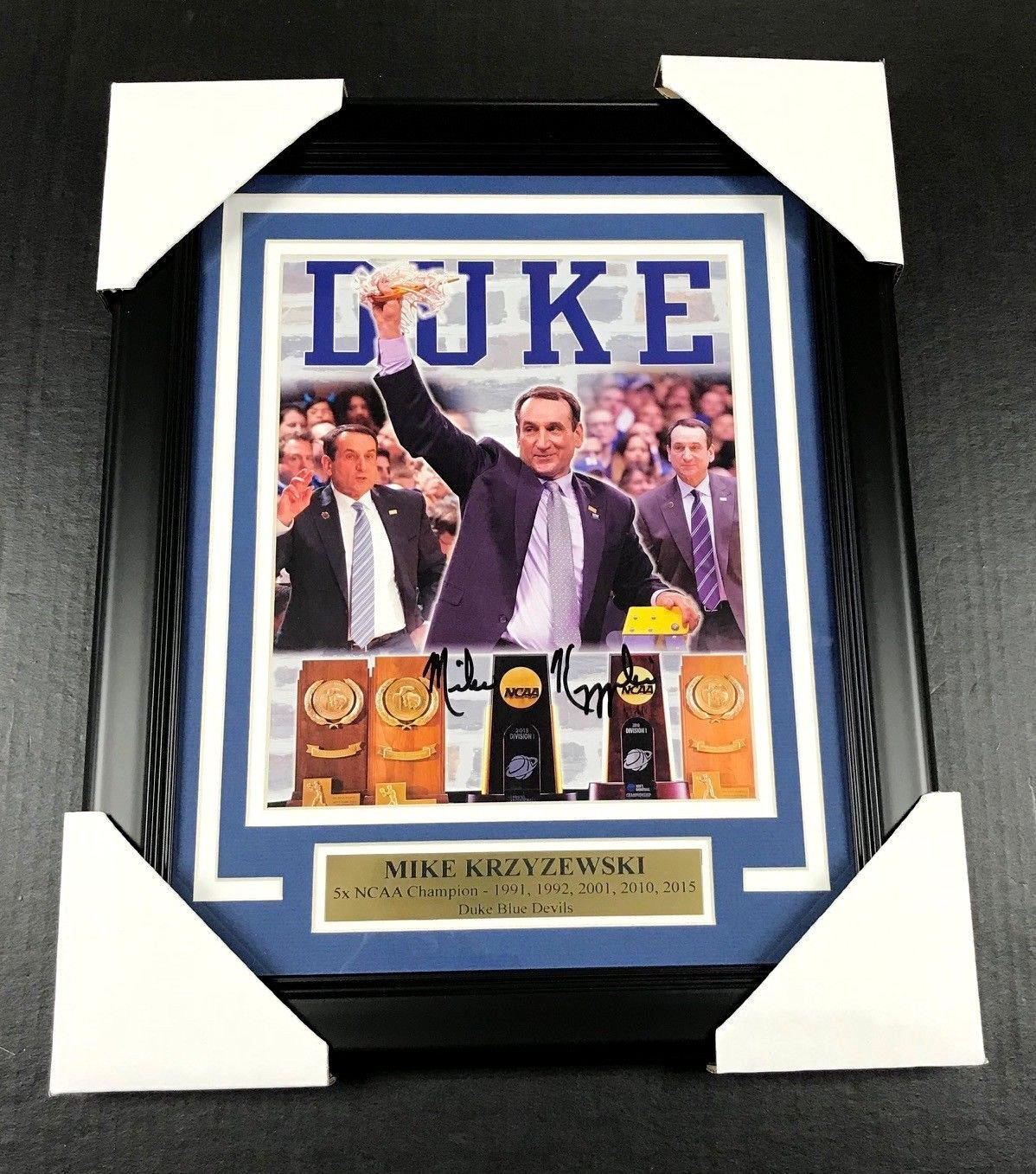 Mike Krzyzewski COACH K AUTOGRAPHED 8X10 PHOTO DUKE BLUE DEVILS FRAMED JSA COA