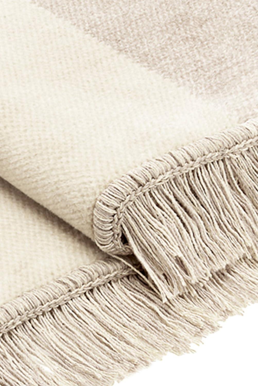 Bocasa Biederlack Cotton Cover Blanket Throw 50x200 cm Salt /& Pepper Nature Beige