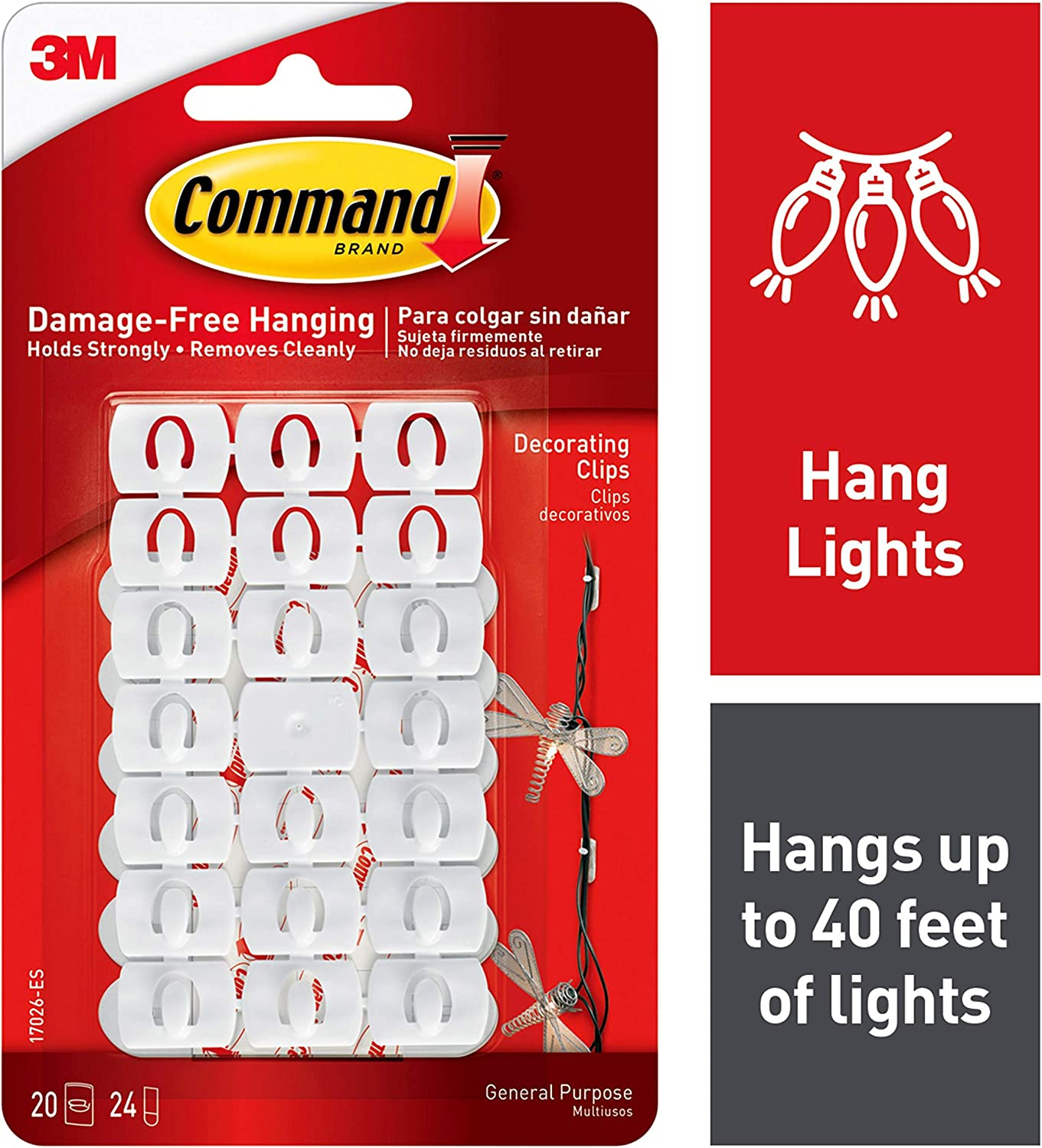Command Light Clips, White, White, Decorate Damage-Free (17026-ES)