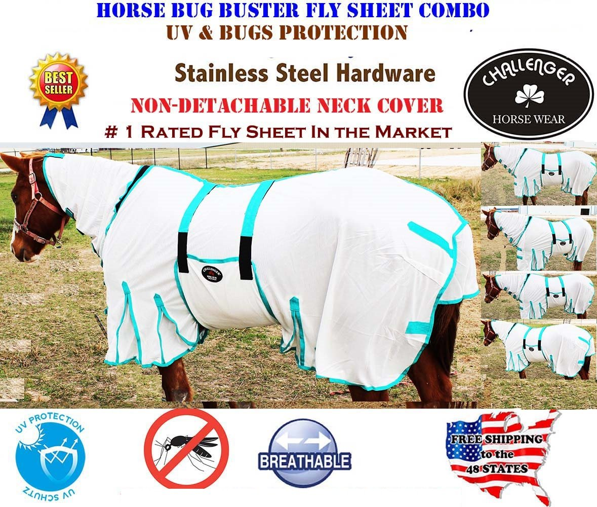 66 inches Horse Bug Mosquito Fly Sheet Summer Spring Airflow Mesh UV Neck White 73140