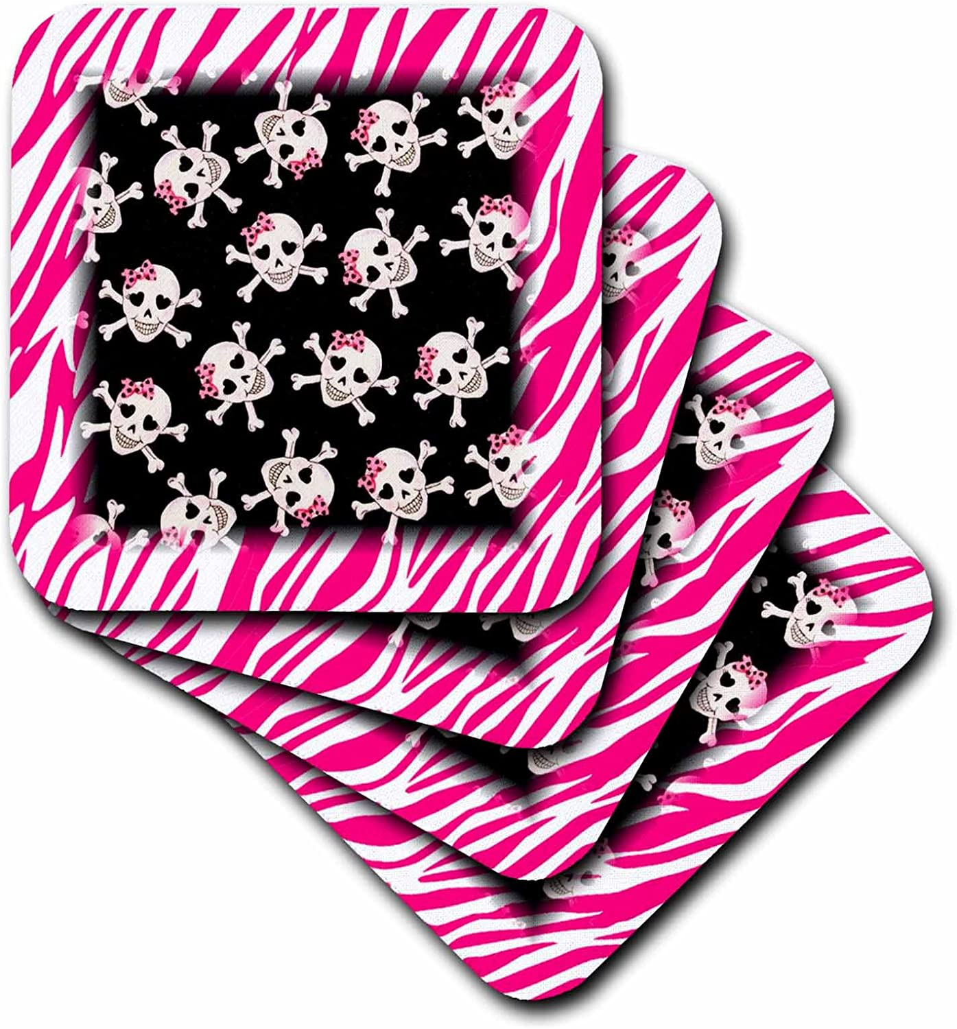 3dRose cst/_61793/_2 Cute Black Skulls with Bows on Pink Zebra-Soft Coasters Set of 8