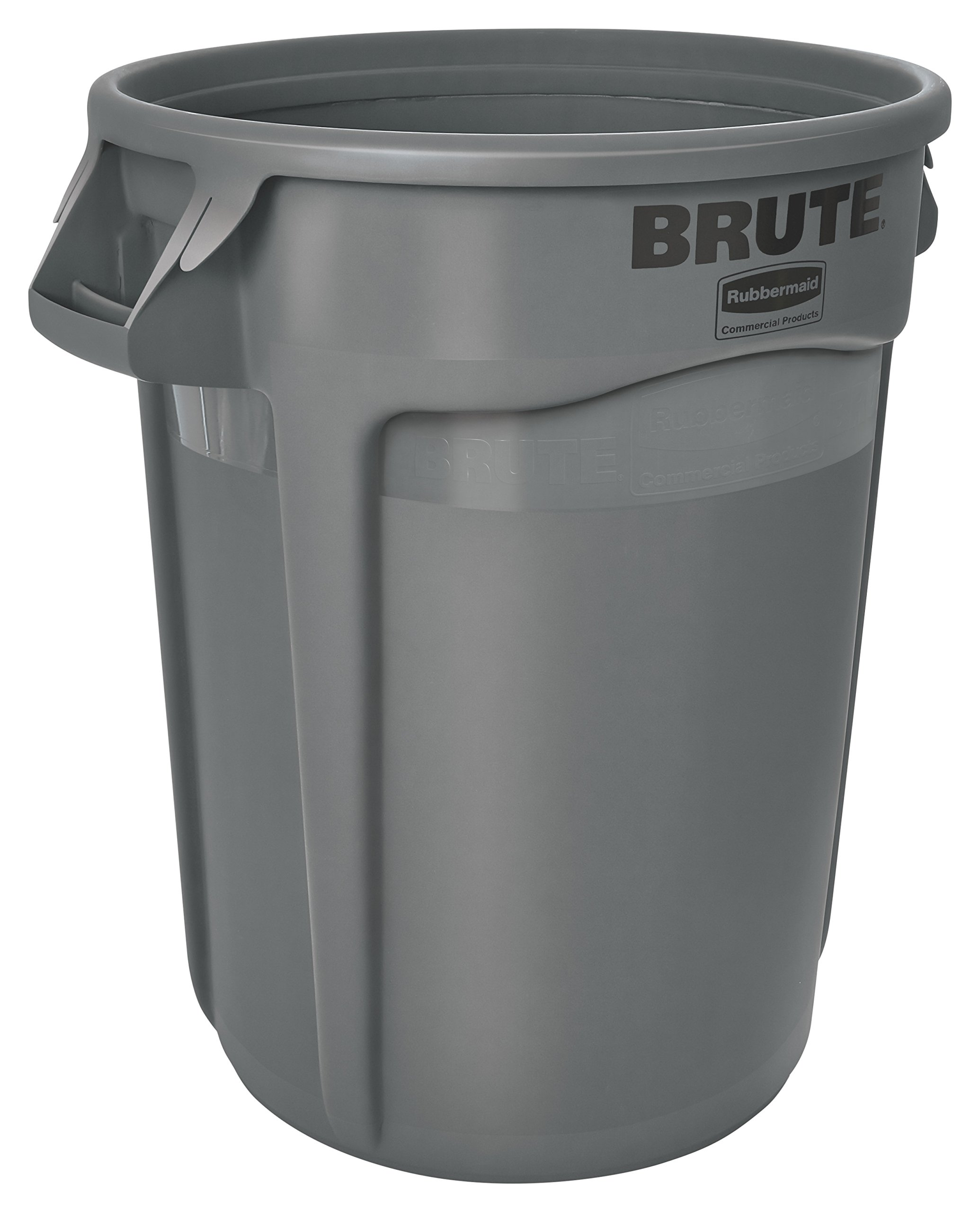 Rubbermaid Commercial BRUTE Heavy-Duty Round Waste/Utility Container with Venting Channels, 10-gallon, Gray (FG261000GRAY) by Rubbermaid Commercial Products