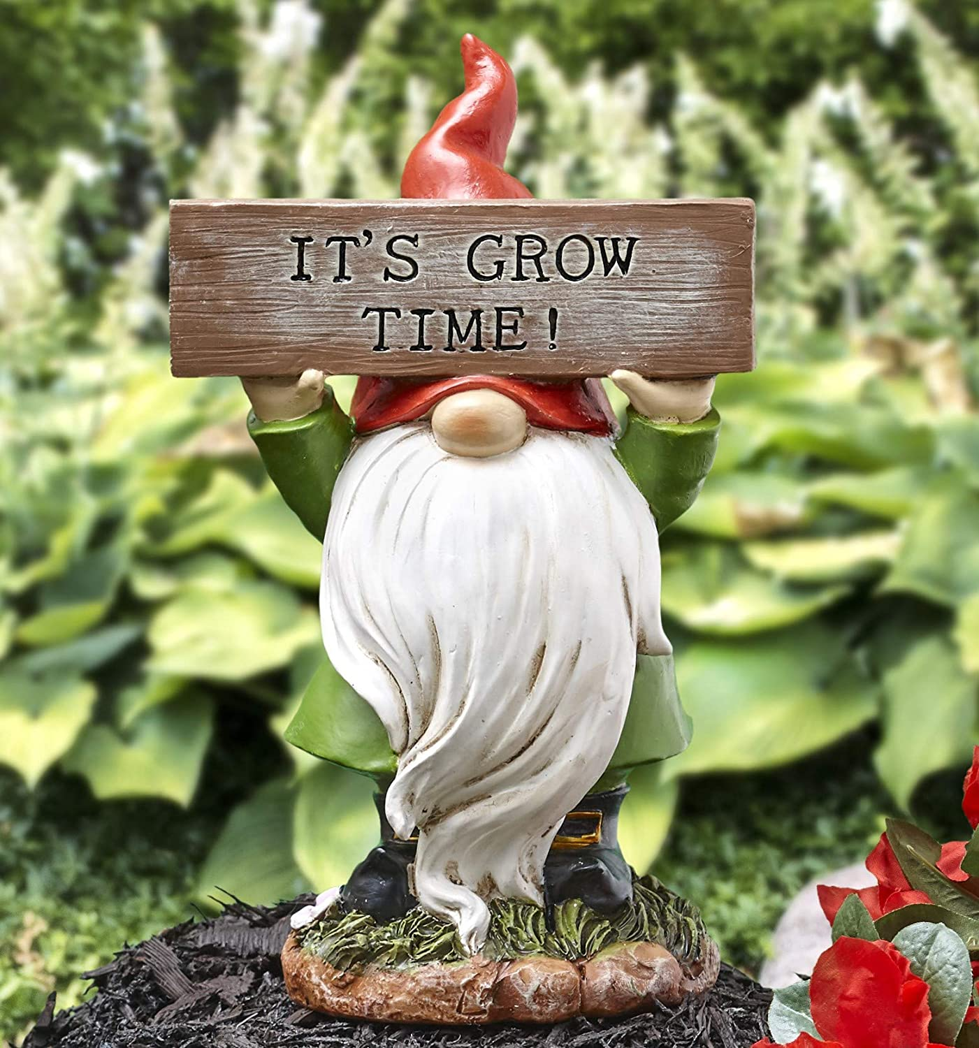 The Lakeside Collection Garden Gnome with Sign - It's Grow Time - Decorative Outdoor Statue